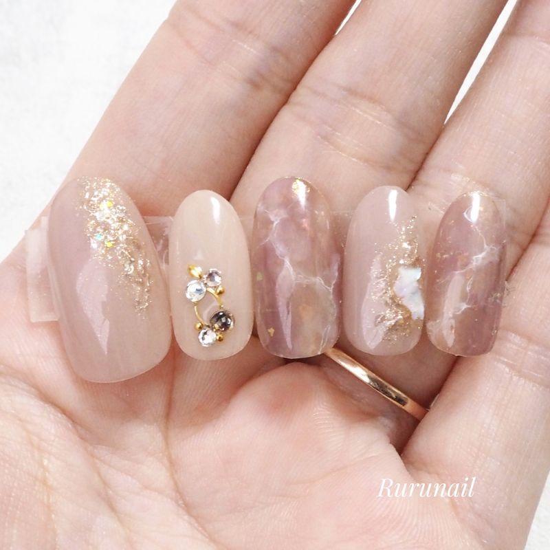 画像1: なじむふんわりニュアンスのミラー美爪ネイルチップ(489
