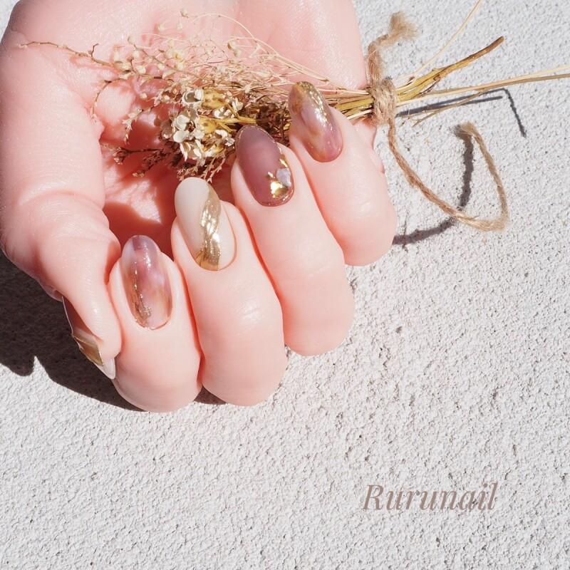 画像4: プラムのふんわりニュアンスのミラー美爪ネイルチップ(490
