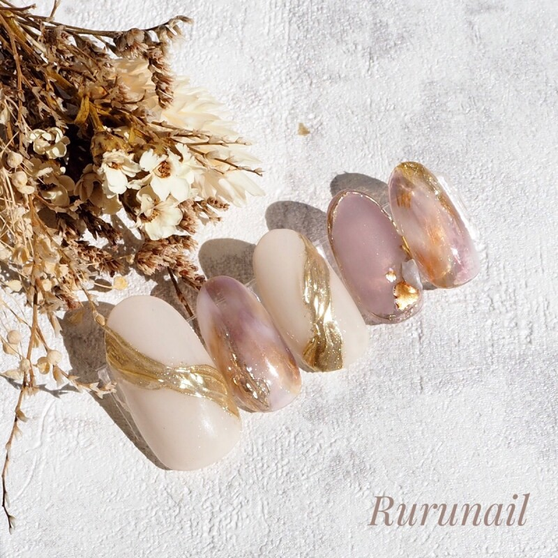 画像2: プラムのふんわりニュアンスのミラー美爪ネイルチップ(490