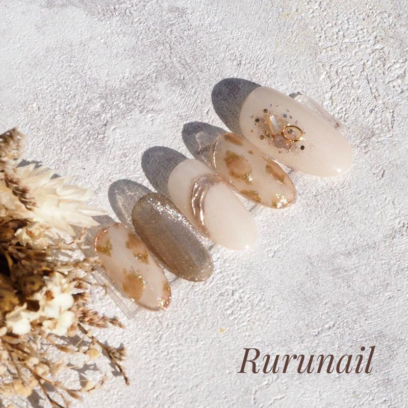 画像3: レオパードとスターギャラクシーの秋冬ネイルチップ(494