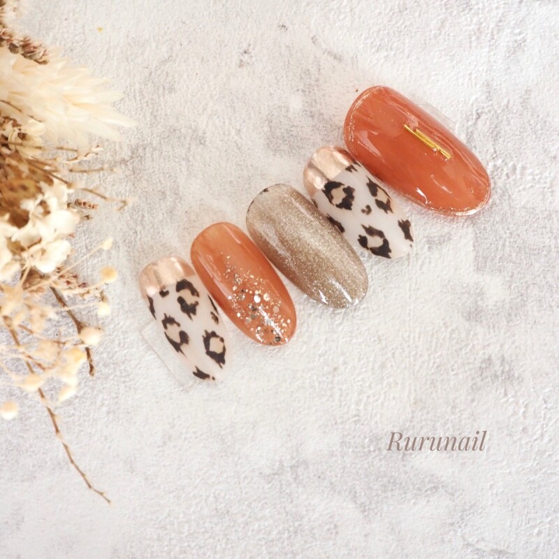 画像2: レオパードとテラコッタのこなれ秋冬ネイルチップ(496