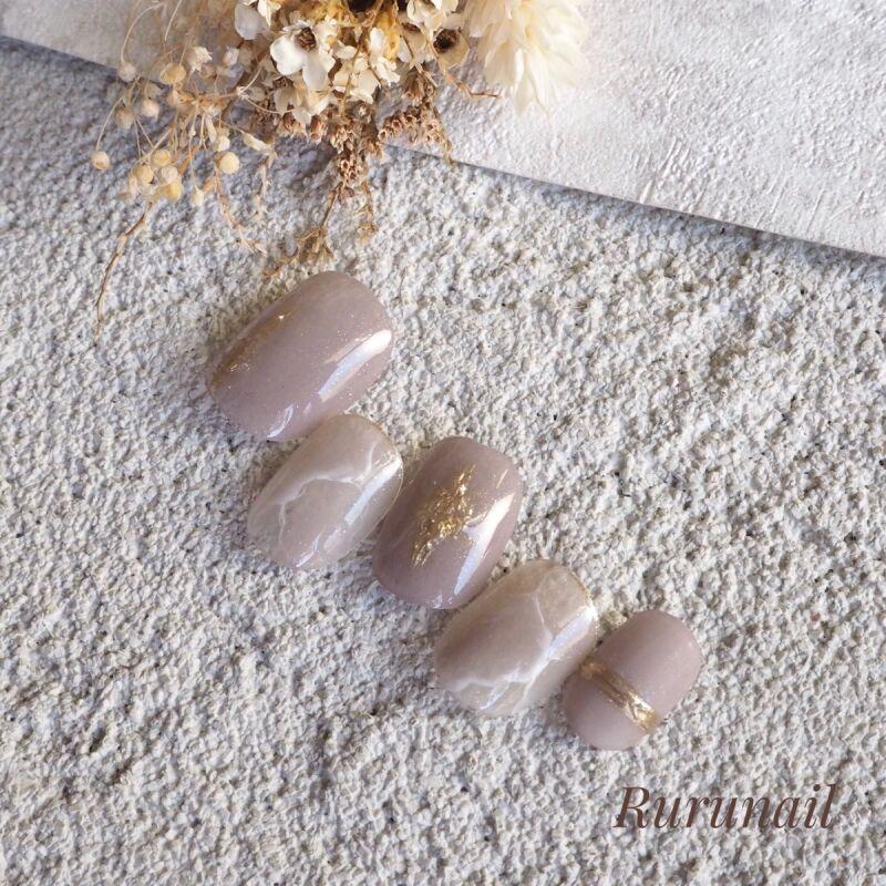 画像2: 【ショート】スモーキーパープル大理石とミラーネイルチップSP01