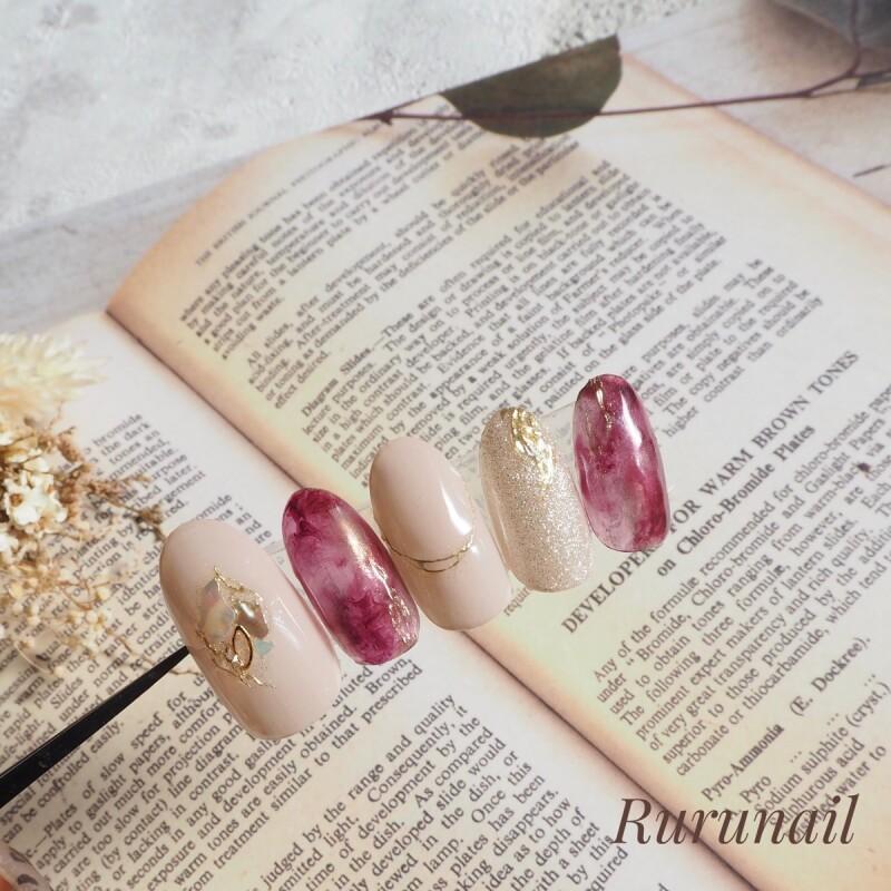 画像2: 赤べっ甲の美爪ミラー秋冬ネイルチップ(501