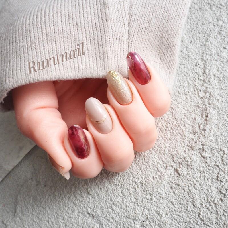 画像3: 赤べっ甲の美爪ミラー秋冬ネイルチップ(501