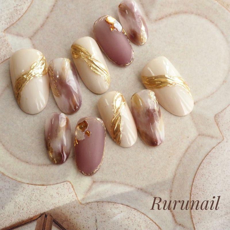 画像1: プラムのふんわりニュアンスのミラー美爪ネイルチップ(490